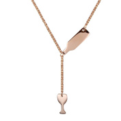 PAURO Women's Stainless Steel Wine Bottle Beer Cup Pendant Y Necklace, Rose Gold/Golden/Silver