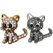 2pcs Vintage Women Girls Lovely Cat Kitten Rhinestone Collar Brooch Pin Party Jewellery