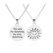 """You are My Sunshine"" Engraved Letter Simple Pendant Couples Necklaces for Women or Girls Lovers Gifts"
