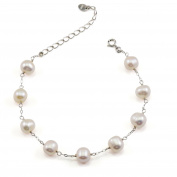 """Women Bracelet Freshwater Cultured Pearl Bridal Jewellery Bridesmaids Gift 7.5"""" and 4.5cm Extension Chain"""