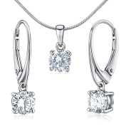 Silver Pendant with Clear Cubic Zirconia 6 mm Sterling Silver 925 Earrings