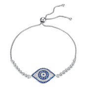 Kaletine Blue Evil Eye Tennis Bracelet Sterling Silver 925 Cubic Zirconia CZ Adjustable Anchor Chain 25cm Ball Clasp