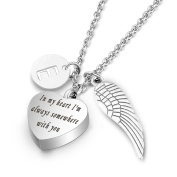 Cremation Urn Jewellery with Letter Locket & Angel Wings Charm Pendant Memorial Ash Keepsake Necklace