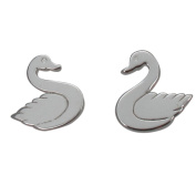 Sterling silver swan design stud earrings with high polished finish
