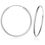 Belons 925 Sterling Silver Fine Circle Endless 45mm Hoop Sleeper Creole Hinged Earrings for Women/Girls