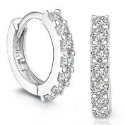 Sterling Silver Rhinestones Hoop Diamond Stud Earrings for Women Beauty Top