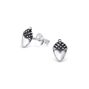 Liara - Acorn Plain Ear Studs 925 Sterling Silver. Polished And Nickel Free