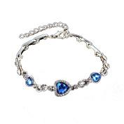 Multiware Ocean Blue Crystal Rhinestone Heart Bangle Bracelet Jewellery for Women