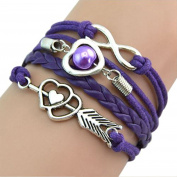 Multiware Girl Infinity Love Heart Pearl Friendship Antique Silver Leather Braided Bracelet