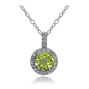 Sterling Silver Peridot And White Topaz Halo Necklace