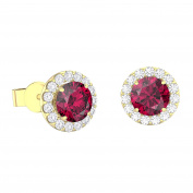 Eternity 1ct Ruby and White Sapphire Halo 18ct Gold Vermeil Stud Earrings