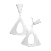 Jewellery Ant Hony . Long Earrings – Silver Ribbed Hoop Earrings 7 cm Long