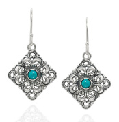 925 Sterling Silver and Turquoise Filigree Diamond Shaped Dangle Earrings Unique Women's Jewellery