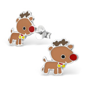 Red Nose Reindeer Christmas Sterling Silver Stud Earrings 12mm