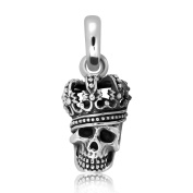 Sistrakno Sterling Silver 925 Charm Skull Head with Grand Crown Pendant