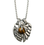 XYLUCKY Retro Men's 925 Silver Inlaid Gem Necklace / Eagle Claw Tiger Eye Combination Pendant Sweater Chain
