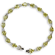 34 White Cubic Zirconia and Peridot Bracelet made of 925 real silver