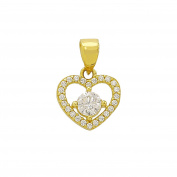 Gold Heart Pendant with Cubic Zirconia in 585 gold pendant 3673