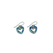 Shimmering Opalique Green / Blue Sterling Silver Cut Out Heart Drop Earrings