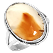 Solid 925 Sterling Silver Collectible Jewellery Natural Montana Agate Gemstone Ring Size S