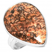 Natural Red Poppy Jasper Gemstone Ring Solid 925 Sterling Silver Latest Jewellery Size Q
