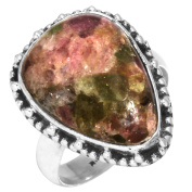 Solid 925 Sterling Silver Modern Jewellery Natural Multi Tourmaline Fusion Gemstone Ring Size L