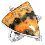 Solid 925 Sterling Silver Ring Natural Indonesian Bumble Bee Gemstone Collectible Jewellery Size R