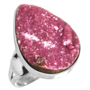 Solid 925 Sterling Silver Ring Natural Cobalto Calcite Druzy Gemstone Modern Jewellery Size Q