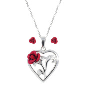 Sterling Silver Red Rose Heart Pendant, 46cm , and Stud Earrings