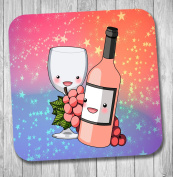 Rose Wine & Grapes Coaster - Birthday Gift / Stocking Filler