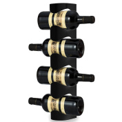 Kabalo Black 4 Bottle Wine Rack Stand Wall Mounted Champagne Beer Spirits Drinks Kitchen Storage Unit