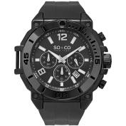SO & CO New York Men's Yacht Club Quartz Chronograph Black Rubber Strap Watch