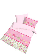 Renforcé Bed Linen Elephant Baby Pink/40 x 60 + 100 x 135 cm Made in Germany