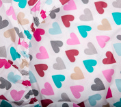 KempKids. Cot, Crib Fitted Sheet, Size 70x140 cm, Hearts