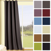 Fashion-and-joy – Curtains with Holes (with Thermal Insulation, 245 x 135 cm) grau-braun