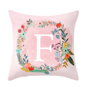 Profusion Circle Flowers Surround English Letters Alphabet A-Z Print Throw Pillow Cushion Cover Case Cafe Home Sofa Decor