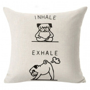 "Profusion Circle Funny ""I NHALE,EXHALE"" Pug Dog Pattern Linen Pillowcase Throw Pillow Cushion Cover Case Home Cafe Sofa Decor"