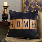 Valery Madelyn Winter Wishes Christmas Cushion Covers Gold and Blue ¡°HOME¡± Bronzing Christmas Pillow Cover with Glittery Piping