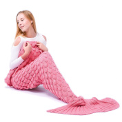 Gifts for Her, Mermaid Tail Blanket Novelty Gift for Adults Women Girls and Kids Handmade Knitted Warm Living Room Sofa Throws 78.4 inch x 35.4 inch(190cmX90cm)