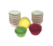 PAPSTAR Baking Cup Yellow/Green/Red 300 Assorted Colours ø24cm Finger Food Muffin Moulds for Children's Birthday Party