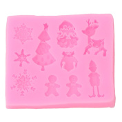 Elistelle Christmas Series Silicone Fondant Moulds, DIY Cake Moulds Sweet Candy Chocolate Making Mould Chocolate Clay Mould Fondant Cake Sugarcraft Decorating Supplies Fondant Cake Baking Mould