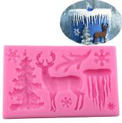 Christmas Cake Moulds Tree Elk Snowflake Shape Silicone Fondant Chocolate Baking Tools