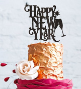 Happy New Years Party Cake Topper - Glitter Black - 2018 Cake Topper