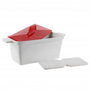 Saveur et Degustation KC2301 Foie Gras Terrine with Press, Ceramic, Red/White, 25.5 x 11 x 27 cm