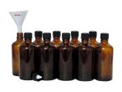 Viva Haushaltswaren 10 Brown Glass Dropper Bottles 100ml/Pharmacist WITH DROPPER INSERT