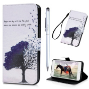 iPhone 7 Plus Case Wallet iPhone 8 Plus Flip Case MAXFE.CO Shockproof PU Leather Case Flip Stand Magnetic Wallet Case for iPhone 7 Plus/ iPhone 8 Plus with Built-in Kickstand & Card Slots, Flying Birds & Tree
