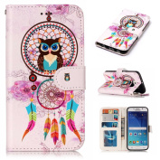 For Samsung S6 Case MAXFE.CO Galaxy S6 Premium PU Leather Case 3D Relief Glossy Coating Wallet Flip Case Cover Book Style for Samsung Galaxy S6 with Built-in Kickstand, Dream Catcher