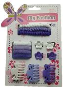 uberfun Girls Hair Accessory Set Clips Slides Bands Grips Bobbles Pink Purple Flowers