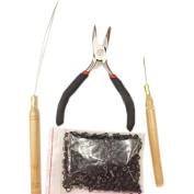 Mufly Hair Extension Rings Beads & Pliers Hook Loop Needle Tool Full Kit 200 Micro
