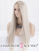 Chantiche Natural Looking Dark Roots Long Ombre Blonde Wig Straight Hair Synthetic Lace Front Wigs UK for Women Side Part Heat Resistant Fibre 60cm